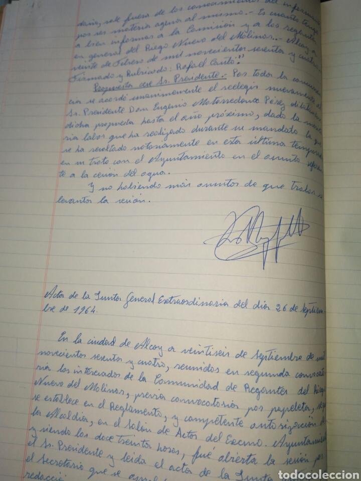 Manuscritos antiguos: LIBRO DE ACTAS MANUSCRITO 1960 DE LA COMUNIDAD DE REGANTES RIEGO NUEVO DEL MOLINAR ALCOY !!ÚNICO!! - Foto 7 - 84529627