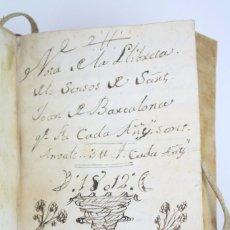 Manuscritos antiguos: ANTIGUA LIBRETA DE ANOTACIONES / RECIBÍS EN CATALÁN - ELS SENSOS DE SANT JOAN DE BARCELONA, AÑO 1812. Lote 84801900