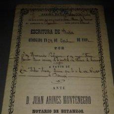 Manuscritos antiguos: 1018- ANTIGUO DOCUMENTO (ESCRITURA - VENTA ) AÑO 1881 BETANZOS CORUÑA ( S XIX) 5 HOJAS. Lote 84945840