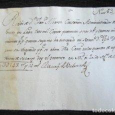 Manuscritos antiguos: AÑO 1783, MADRID. RECIBIDO FIRMADO POR EL MARQUÉS DE VALVERDE POR 3.143 REALES POR RENTAS. . Lote 85398792