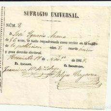 Manuscritos antiguos: PRIMERA PAPELETA EN ESPAÑA DEL SUFRAGIO UNIVERSAL. Lote 85940004