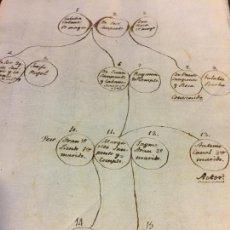 Manuscritos antiguos: ANTIGUO ARBOL GENEALOGICO MANUSCRITO S.XVIII APELLIDO SANPONTS - SAMPONTS - SANTPONÇ - SAMPONS. Lote 86761876