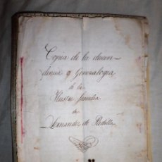 Manuscritos antiguos: GENEALOGIA ILUSTRES FAMILIAS HERNANDEZ DE PADILLA - AÑO 1754 - F.ZAZO Y ROSILLO.. Lote 86947932