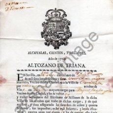 Manuscritos antiguos: SEVILLA,1766, ALTOZANO DE TRIANA, PERMISO PARA TRAER VINO DE CASTILLEJA, ALCAVALAS,CIENTOS Y MILLONE. Lote 87222552
