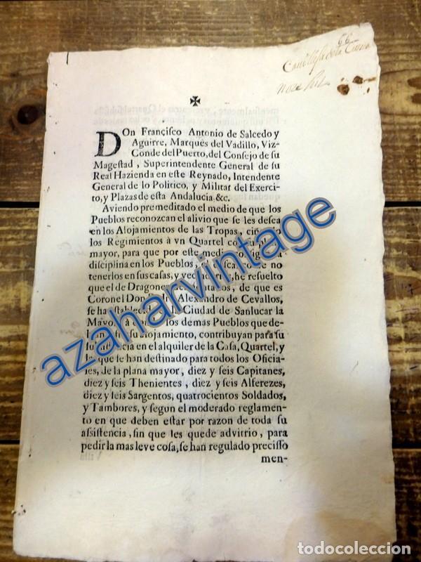 SANLUCAR LA MAYOR, SEVILLA,1716, CUARTEL PARA REGIMIENTO DE DRAGONES DESMONTADOS, LEER (Coleccionismo - Documentos - Manuscritos)
