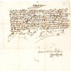 Manuscrito original firmado por los Reyes Católicos