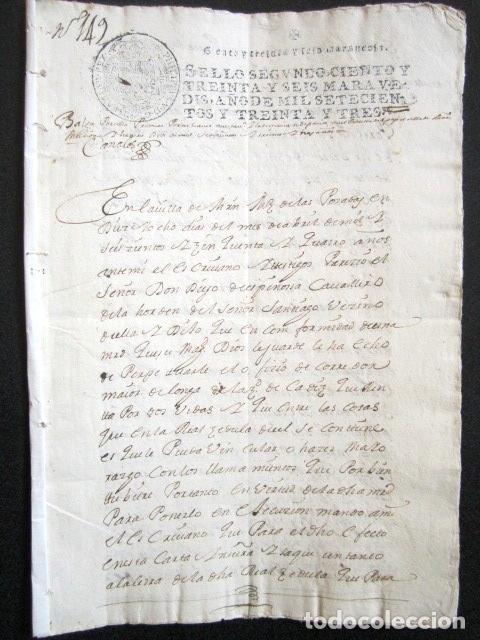 AÑO 1733. MARTÍN MUÑOZ DE LAS POSADAS. SEGOVIA. CÁDIZ. JUAN ESPINOSA, ORDEN ALCÁNTARA. REINO DE PERÚ (Coleccionismo - Documentos - Manuscritos)