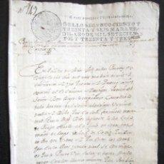 Manuscritos antiguos: AÑO 1733. MARTÍN MUÑOZ DE LAS POSADAS. SEGOVIA. CÁDIZ. JUAN ESPINOSA, ORDEN ALCÁNTARA. REINO DE PERÚ. Lote 89421128