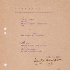 Manuscritos antiguos: POEMA ORIGINAL E INÉDITO MECANOGRAFIADO Y FIRMADO POR VICENTE HUIDOBRO. (PARÍS 1925).. Lote 89786884