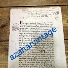 Manuscritos antiguos: SEVILLA, 1767, ORDEN PARA QUE SE OBSERVE LA VEDA DE CAZA Y PESCA, 2 HOJAS. Lote 90422639