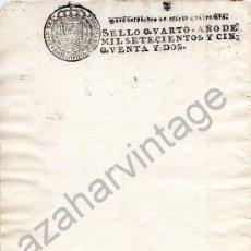 Manuscritos antiguos: 1752. PAPEL TIMBRADO FISCAL. SELLADO. SELLO 4º. OFICIO 4 MRS. FERNANDO VI. EN BLANCO. TIMBROLOGIA.. Lote 91168175