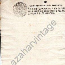 Manuscritos antiguos: 1757. PAPEL TIMBRADO FISCAL. SELLADO. SELLO 4º.OFICIO 4 MRS. FERNANDO VI. EN BLANCO. TIMBROLOGIA.. Lote 91168630