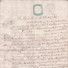 Manuscritos antiguos: ANTIGUO DOCUMENTO. ALBACETE. SELLOS FISCALES VERDES DE 1865 Y SELLO SECO EN INTERIOR.. Lote 93817350
