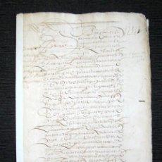 Manuscritos antiguos: AÑO 1597. PUERTO DE SANTA MARÍA. CADIZ. ENTREGA A HIJO DE ALONSO E ISABEL UNA Y MEDIA ARANZADA VIÑA. Lote 93896995