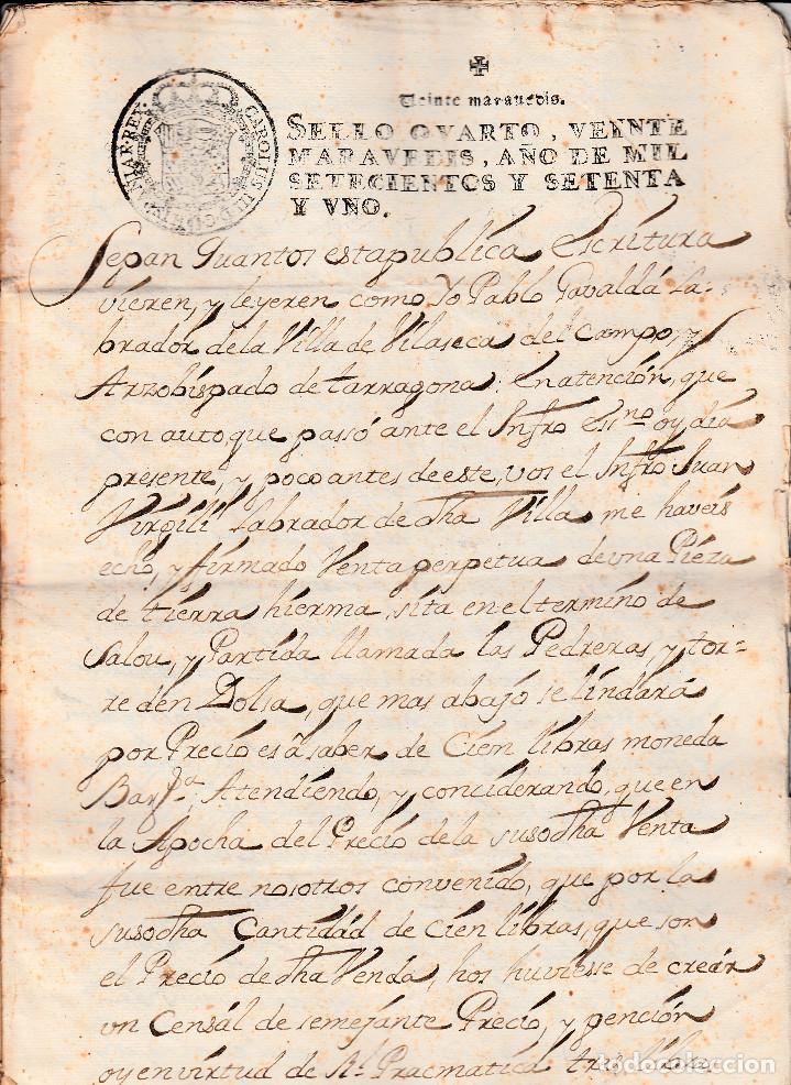 MANUSCRITO CON FISCALES AÑO 1771 DE VILA-SECA (VILASECA) -TARRAGONA 9 PÁGINAS -2 FISCALES (Coleccionismo - Documentos - Manuscritos)
