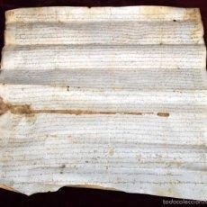 Manuscritos antiguos: ANTIGUO DOCUMENTO MANUSCRITO DEL SIGLO XIV. FECHADO DEL AÑO 1303 EN SANT PERE DE VILAMAJOR. Lote 96144283