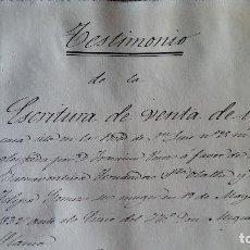 Manuscritos antiguos: DOCUMENTO MANUSCRITO. SELLO FISCAL 1858 TESTIMONIO ESCRITURA DE VENTA. VER FOTOS. Lote 96147199