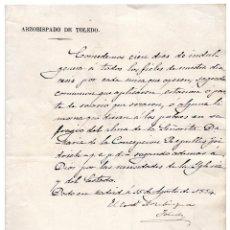 Manuscritos antiguos: ARZOBISPADO DE TOLEDO CARTA MANUSCRITA CONCEDE CIEN DIAS DE INDULGENCIA ... 1884. Lote 96534795