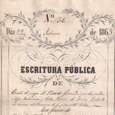 Manuscritos antiguos: ESCRITURA PÚBLICA DE CARTA DE PAGO DE 1300 .?...AÑO 1863 - SANTA COLOMA DE FARNÉS . Lote 96575315
