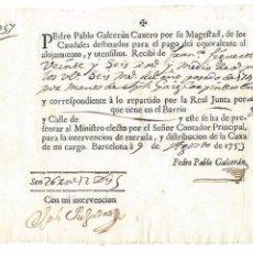 Manuscritos antiguos: DOCUMENTO DE PAGO MANUSCRITO EMITIDO EN BARCELONA EN EL AÑO 1753. Lote 96783779