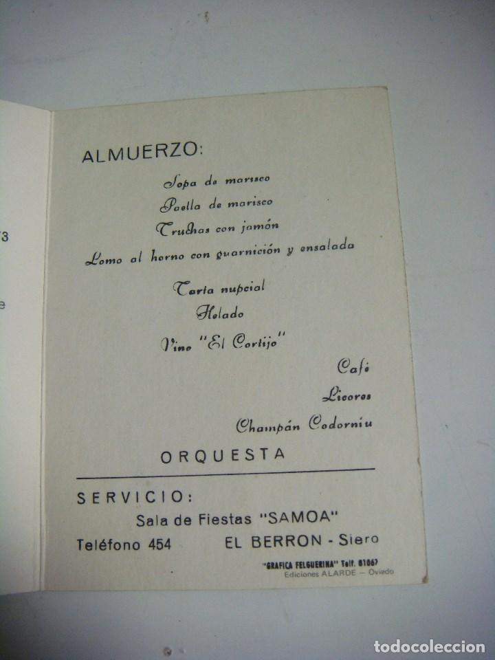 Manuscritos antiguos: INVITACION DE BODA ALMUERZO SALA DE FIESTA SAMOA SANTOVENIA VALLADOLID (#) - Foto 3 - 97526311