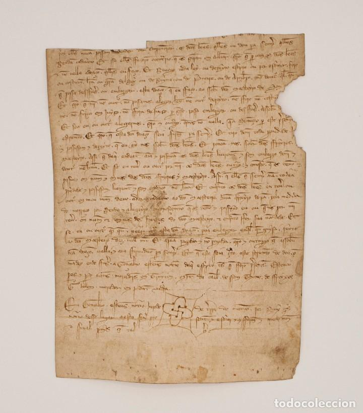 DOCUMENTO MANUSCRITO S. XIV ESCRITO EN GALLEGO. GALICIA (Coleccionismo - Documentos - Manuscritos)