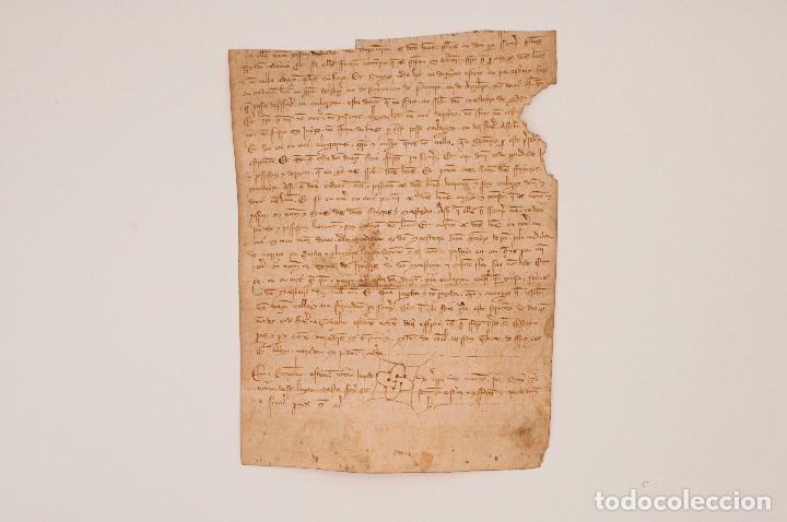 Manuscritos antiguos: Documento manuscrito s. XIV escrito en gallego. Galicia - Foto 3 - 97726967