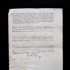 Manuscritos antiguos: 1829. CONCESION DE GRADUACION DE INTENDENTE DE MARINA. FIRMA REAL REY FERNANDO VII. CON SELLO PLOMO. Lote 97732291