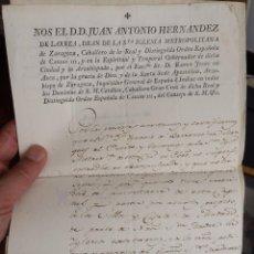 Manuscritos antiguos: ZARAGOZA 1805 CERTIFICADO DEL DEAN DEL ARZOBISPADO. Lote 97797287