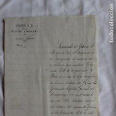Manuscritos antiguos: GOBIERNO POLITICO MILITAR DE LA ISLA DE MINDANAO, ZAMBOANGA, FILIPINAS 1890. Lote 97994479