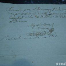 Manuscritos antiguos: SERMON PARA EL 2º DOMINGO DE CUARESMA MIGUEL MARIA XIMENEZ 1836. Lote 98512483