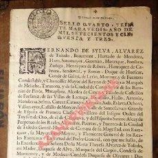 Manuscritos antiguos: FERNANDO DE SILVA ÁLVAREZ DE TOLEDO, DUQUE DE HUESCAR,CASA DE ALBA, NOMBRAMIENTO DE REGIDORES, 1753. Lote 98830279