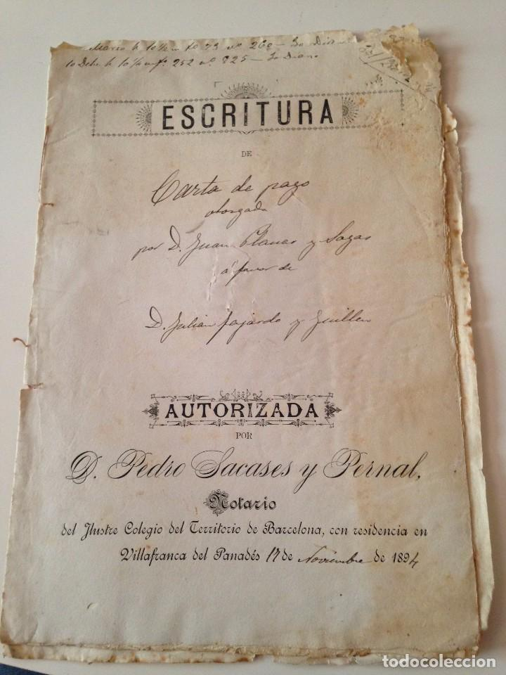 ESCRITURA CARTA PAGO VILLAFRANCA DEL PANADÉS (BARCELONA) 1894, PEDRO SACASES PERNAL (Coleccionismo - Documentos - Manuscritos)