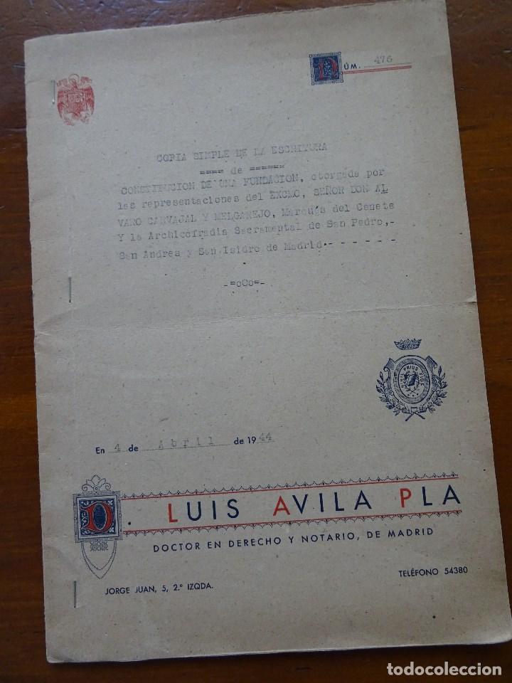 Manuscritos antiguos: Marqués de Cenete, lote sobre fundación con la Archicofradía Sacramental en San Isidro, Madrid - Foto 2 - 99367363
