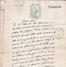 Manuscritos antiguos: 1875 SAN CLEMENTE (CUENCA). SELLO FISCAL 10 DE 1 PTAº. DOCUMENTO MANUSCRITO. Lote 99819959