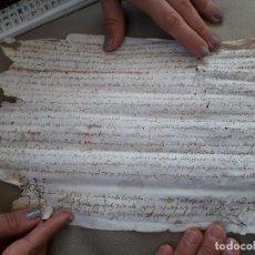 Manuscritos antiguos: MANUSCRITO NOTARIAL EN PERGAMINO FINALES DEL XVI. OLOT. Lote 99965299