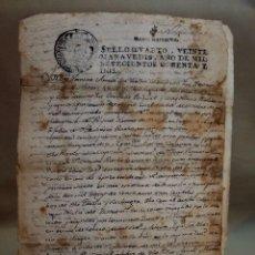 Manuscritos antiguos: DOCUMENTO MANUSCRITO NOTARIAL, NOMBREVILLA, JUAN BAUTISTA GARCIA, NOTARIO DE DAROCA, 1782. Lote 100289131
