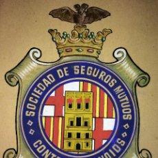 Manuscritos antiguos: SOCIEDAD DE SEGUROS MUTUOS CONTRA INCENDIOS DE BARCELONA. ACUARELA. ESPAÑA. 1934-1960. Lote 100315139