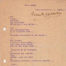Manuscritos antiguos: (SIGNED) VICENTE HUIDOBRO. POEMA INÉDITO MECANOGRAFIADO, FIRMADO Y FECHADO. Lote 100403084