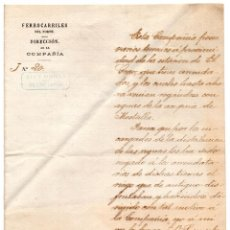 Manuscritos antiguos: OFICIO DE COMUNICACIÓN FERROCARRILES DEL NORTE 1893. MESTALLA. VALENCIA - FERROCARRIL. ACEQUIA . Lote 101099787