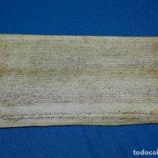 Manuscritos antiguos: (M) PERGAMINO AÑO 1636 , 35'5 X 17 CM, SEÑALES DE USO. Lote 101279611