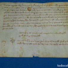 Manuscritos antiguos: (M) PERGAMINO AÑO 1413 MARTIN EL HUMANO - DOTE - , 26'5 X 19'5 CM, IGLESIA DE SANT GENÍS DE TARADELL. Lote 101280395