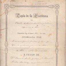 Manuscritos antiguos: ANTIGUA ESCRITURA DE TIERRAS EN ABLA-ALMERIA-AÑO 1862. Lote 102276843