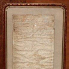 Manuscritos antiguos: GRAN PERGAMINO MANUSCRITO DEL SIGLO XV O XVI. BIEN ENMARCADO. VALLCARCA. Lote 102644731