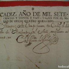 Manuscrits anciens: MUY RARO FISCAL. 1721. DESPACHO OFICIOS, EMISIÓN DE CÁDIZ. Lote 103425895
