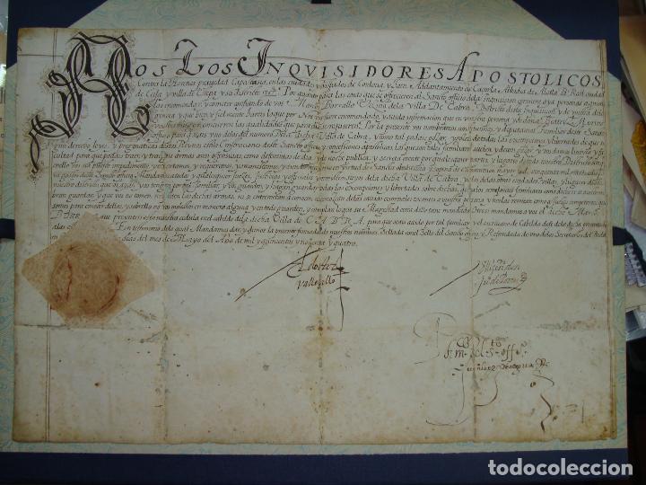 1594. PERGAMINO. INQUISICIÓN. CABRA, CÓRDOBA. NOMBRAMIENTO, SELLO, FIRMAS. (Coleccionismo - Documentos - Manuscritos)