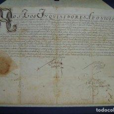 Manuscritos antiguos: 1594. PERGAMINO. INQUISICIÓN. CABRA, CÓRDOBA. NOMBRAMIENTO, SELLO, FIRMAS.. Lote 103705011