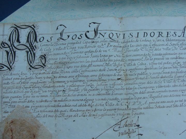 Manuscritos antiguos: 1594. PERGAMINO. INQUISICIÓN. CABRA, CÓRDOBA. NOMBRAMIENTO, SELLO, FIRMAS. - Foto 3 - 103705011