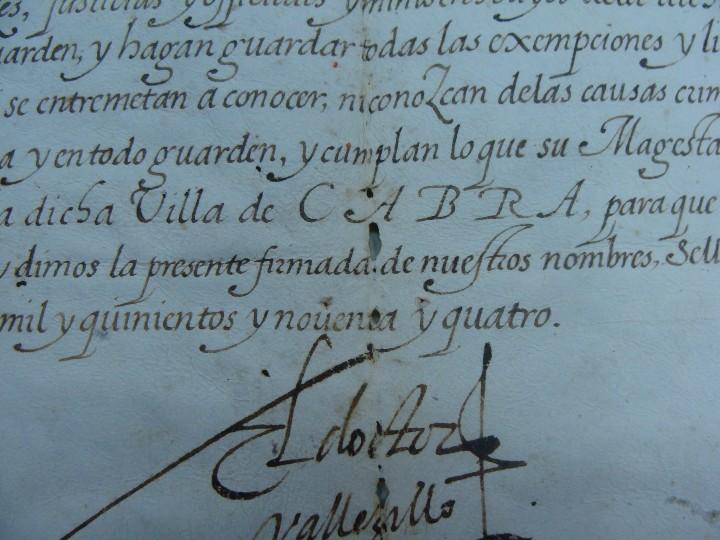 Manuscritos antiguos: 1594. PERGAMINO. INQUISICIÓN. CABRA, CÓRDOBA. NOMBRAMIENTO, SELLO, FIRMAS. - Foto 4 - 103705011