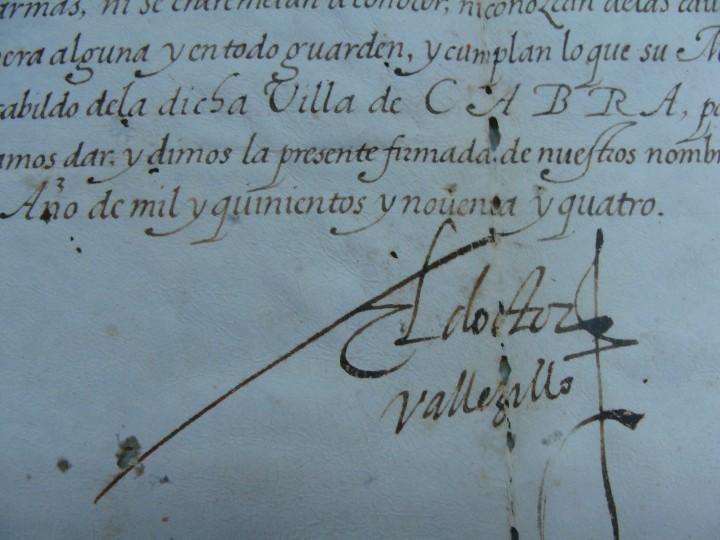 Manuscritos antiguos: 1594. PERGAMINO. INQUISICIÓN. CABRA, CÓRDOBA. NOMBRAMIENTO, SELLO, FIRMAS. - Foto 5 - 103705011